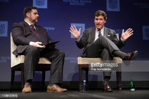 Michael Brendan Dougherty and Fox News host Tucker Carlson discuss 'Populism and the Right' during the National Review Institute's Ideas Summit at...