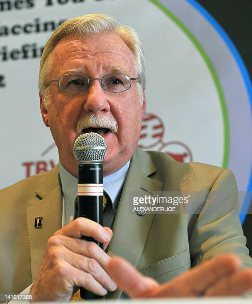 Michael Brennan of Aeras and Stop TB Partnership Working Group on New TB Vaccines speaks on March 20 2012 in Johannesburg at the launch of Global TB...