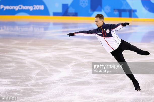 Michael Brezina of The Czech Republic practices during Figure Skating training ahead of the PyeongChang 2018 Winter Olympic Games at Gangneung Ice...
