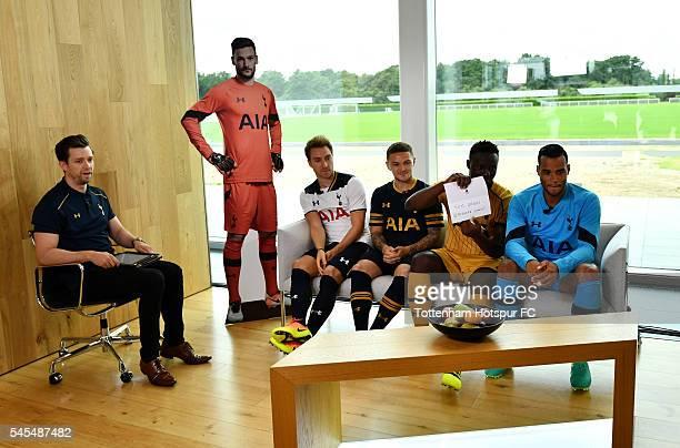 Michael Bridge hosts Christian Eriksen Kieran Trippier Victor Wanyama and Michel Vorm during the Tottenham Hotspur Kit Launch at the Tottenham...