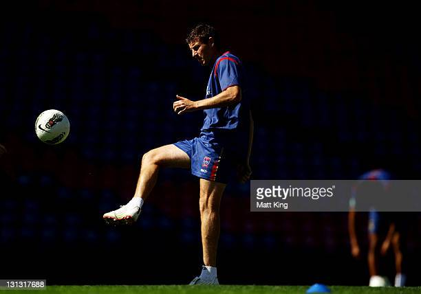Michael Bridges controls the ball during a Newcastle Jets ALeague training session at Ausgrid Stadium on November 4 2011 in Newcastle Australia