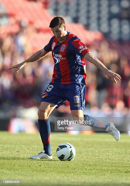 Michael Bridges of the Jets about to kick downfield during the round 15 ALeague match between the Newcastle Jets and Adelaide United at Hunter...