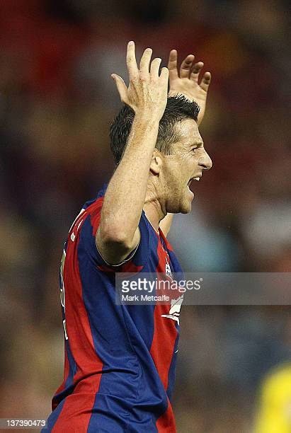 Michael Bridges of the Jets appeals to the referee during the round 16 ALeague match between the Newcastle Jets and the Wellington Phoenix at Ausgrid...