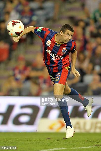 Michael Bridges of the Jets attempts to head the ball during the round 27 ALeague match between the Newcastle Jets and Adelaide United at Hunter...