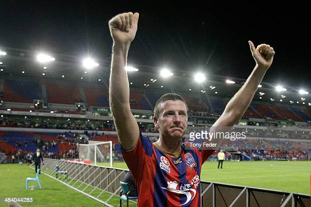 Michael Bridges of the Jets celebrates his last game for the team during the round 27 ALeague match between the Newcastle Jets and Adelaide United at...