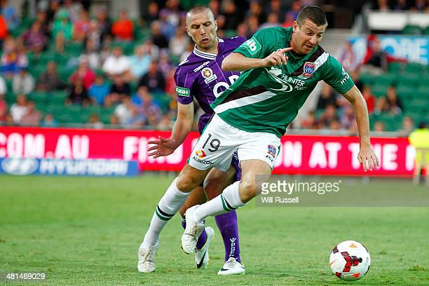 Michael Bridges of the Jets controls the ball during the round 25 ALeague match between Perth Glory and the Newcastle Jets at nib Stadium on March 30...