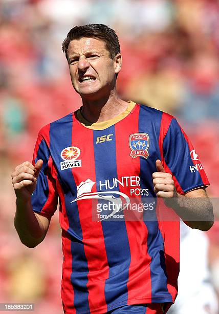 Michael Bridges of the Jets during the round two ALeague match between the Newcastle Jets and the Perth Glory at Hunter Stadium on October 20 2013 in...