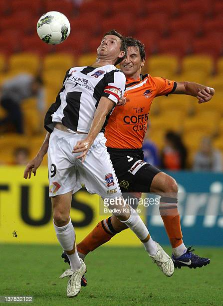 Michael Bridges of the Jets in action during the round 17 match between the Brisbane Roar and the Newcastle Jets at Suncorp Stadium on January 28...