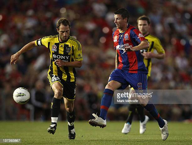 Michael Bridges of the Jets passes the ball during the round 16 ALeague match between the Newcastle Jets and the Wellington Phoenix at Ausgrid...
