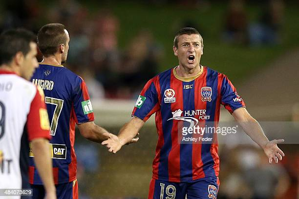 Michael Bridges of the Jets questions a decision during the round 27 ALeague match between the Newcastle Jets and Adelaide United at Hunter Stadium...