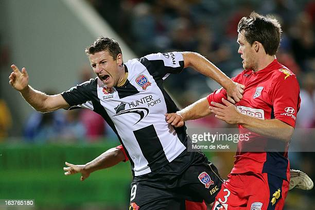 Michael Bridges of the Jets reacts during the round 25 ALeague match between Adelaide United and the Newcastle Jets at Hindmarsh Stadium on March 15...