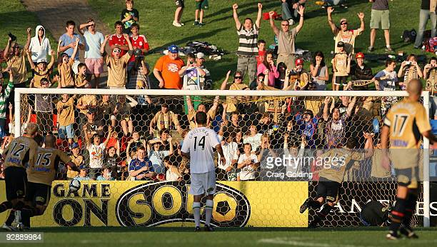 Michael Bridges of the Jets scores from a penalty during the round 14 match between the Newcastle Jets and the North Queensland Fury at...