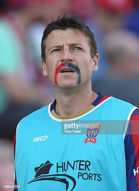 Michael Bridges of the Jets sports moustache in the club colours during the round seven ALeague match between Newcastle Jets and the Wellington...