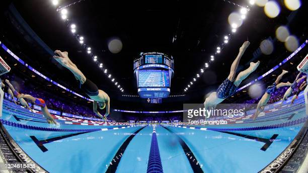 Michael Brinegar and Bobby Finke of the United States compete in the Men's 1500m freestyle during Day Eight of the 2021 U.S. Olympic Team Swimming...
