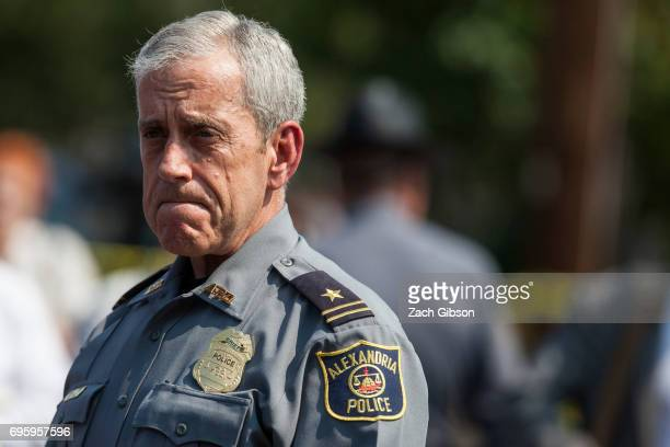 Michael Brown Alexandria Chief of Police briefs members of the press near Eugene Simpson Field the site where a gunman opened fire June 14 2017 in...