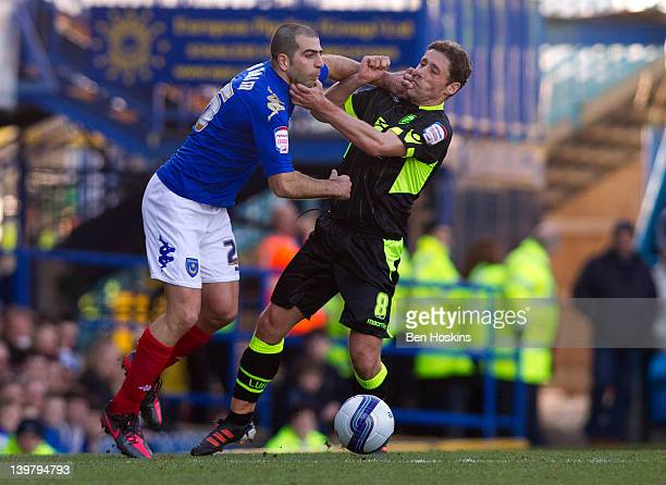 Michael Brown of Leeds battles with Tal Ben Haim of Portsmouth during the npower Championship match between Portsmouth and Leeds United at Fratton...
