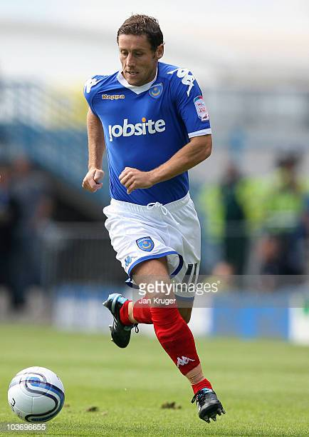 Michael Brown of Portsmouth in action during the npower Championship match between Portsmouth and Cardiff City at Fratton Park on August 28 2010 in...