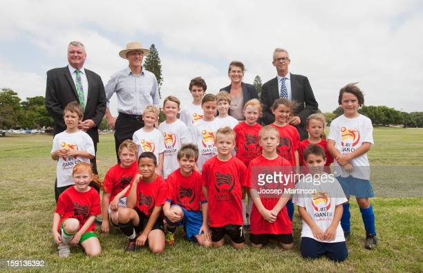 Michael Brown, Peter Garrett, Kate Lundy and David Gallop poses for a photograph with kids during a press conference at Queen's Park on January 9,...