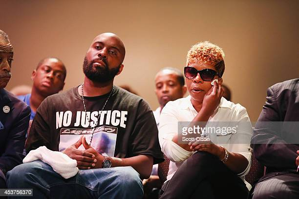 Michael Brown Sr and Lesley McSpadden the parents of slain teenager Michael Brown attend a rally at Greater Grace Church on August 17 2014 in...