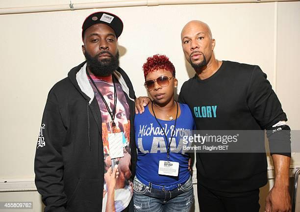 Michael Brown Sr Lesley McSpadden and Common pose backstage during the BET Hip Hop Awards 2014 at Boisfeuillet Jones Atlanta Civic Center on...
