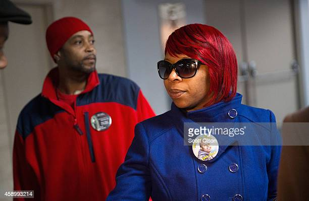 Michael Browns mother Lesley McSpadden is greeted by her husband Louis Head after arriving at St Louis International Airport from Geneva Switzerland...
