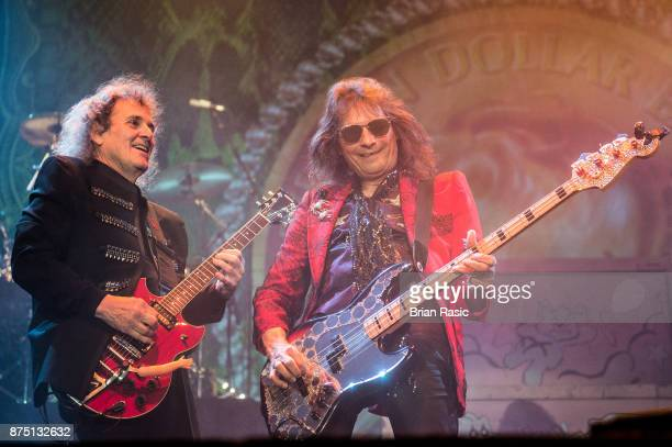 Michael Bruce and Dennis Dunaway members of original Alice Cooper band perform at Wembley Arena on November 16 2017 in London England