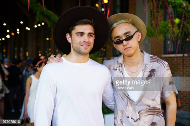 Michael Brucell and guest attend the 2018 High Line Hat Party at the The High Line on June 14 2018 in New York City