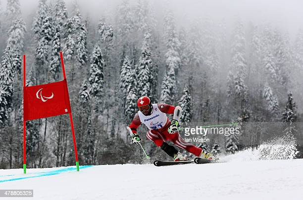 Michael Bruegger of Switzerland competes in the Men's Giant Slalom Standing during day eight of the Sochi 2014 Paralympic Winter Games at Rosa Khutor...
