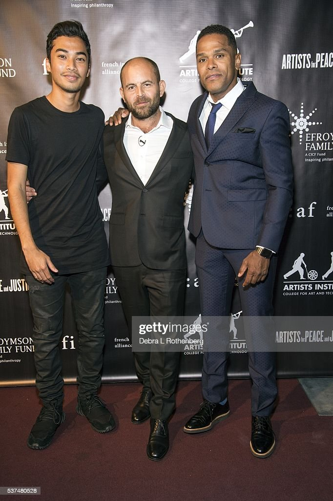 DJ Michael Brun, Filmmaker and activist and founder of Artists Institute David Belle and musician Maxwell attend the French Institute Alliance Francaise and Artists for Peace and Justice 'Haiti Optimiste' event at Florence Gould Hall on June 1, 2016 in New York City.