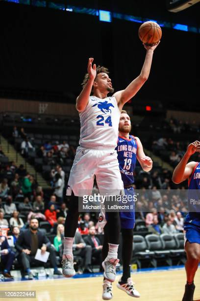 Michael Bryson of the Delaware Blue Coats shoots the ball against the Long Island Nets during an NBA G-League game on March 4, 2020 at Nassau...