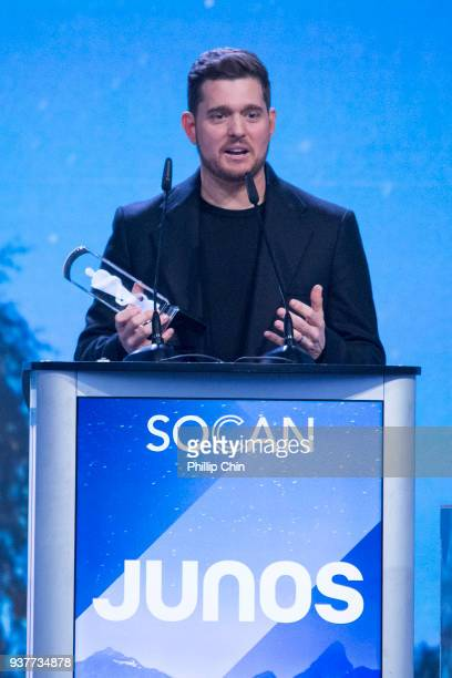 Michael Bubl wins the Adult Contemporary Album of the Year for 'Nobody But Me' at the Juno Gala Dinner and Awards at the Vancouver Convention Centre...