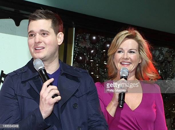 Michael Buble and Claire Byrne attend the launch of Brown Thomas' Christmas windows on November 18, 2011 in Dublin, Ireland.