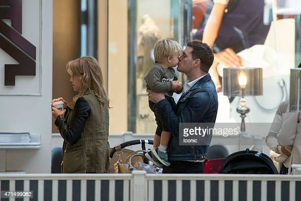 Michael Buble and Luisana Lopilato are seen with their son Noah on April 28 2015 in Madrid Spain