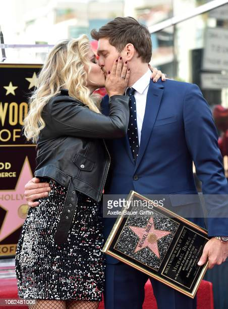 Michael Buble and Luisana Lopilato attend the ceremony honoring Michael Buble with star on the Hollywood Walk of Fame on November 16 2018 in...