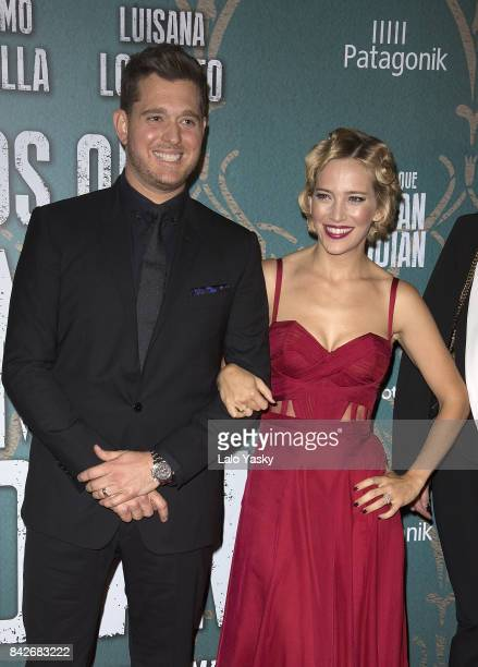 Michael Buble and Luisana Lopilato attend the ''Los Que Aman Odian' premiere at the Dot Shopping Cinema on September 4 2017 in Buenos Aires Argentina