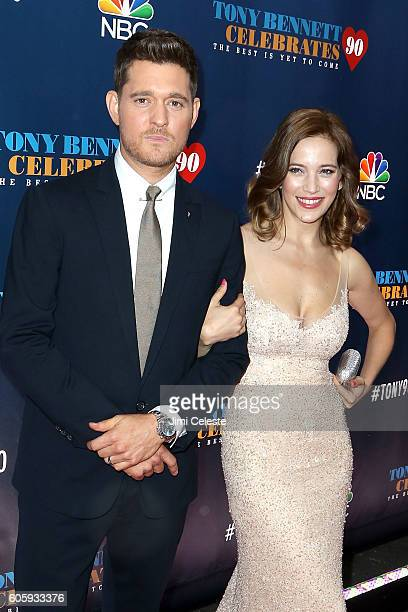 Michael Buble and Luisana Lopilato attends Tony Bennett Celebrates 90 The Best is Yet to Come at Radio City Music Hall on September 15 2016 in New...