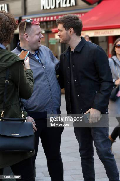Michael BubleŽ greeting fans as he arrived at Smooth Radio at Global Radio Studios on September 24 2018 in London England