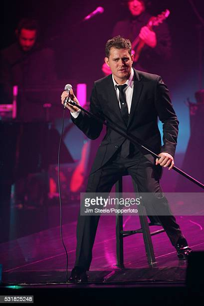 Michael Buble performing on stage at Wembley Arena in London on the 4th December, 2007.