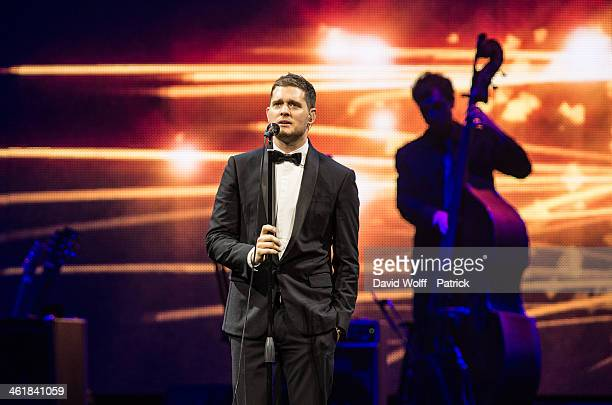 Michael Buble performs at Palais Omnisports de Bercy on January 11, 2014 in Paris, France.