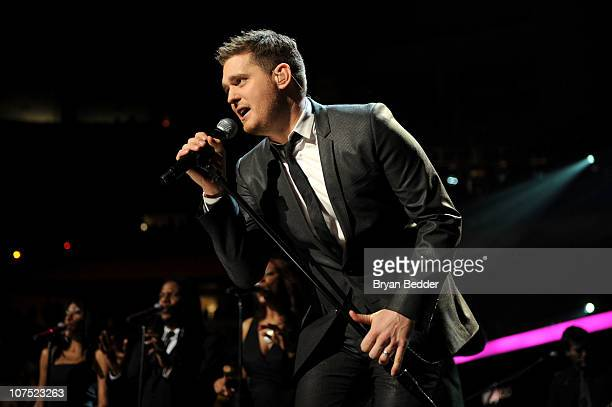 Michael Buble performs during Z100's Jingle Ball 2010 at Madison Square Garden on December 10 2010 in New York City