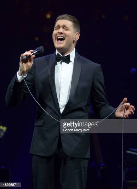 Michael Buble performs in concert at the Palau Sant Jordi on January 30 2014 in Barcelona Spain