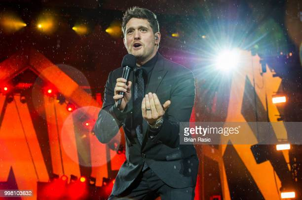 Michael Buble performs live at Barclaycard present British Summer Time at Hyde Park on July 13 2018 in London England