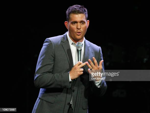 Michael Buble performs on stage at Acer Arena on February 14, 2011 in Sydney, Australia.