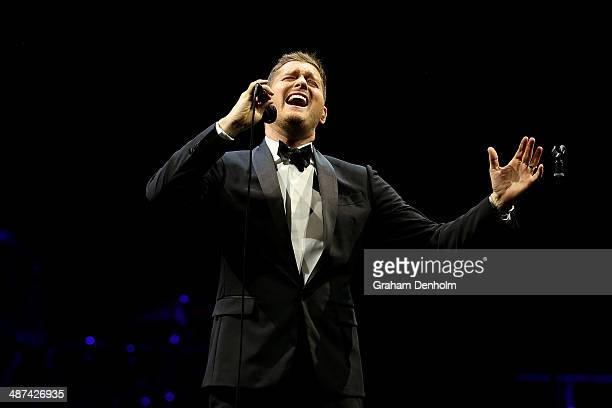 Michael Buble performs on stage at Rod Laver Arena on April 30 2014 in Melbourne Australia