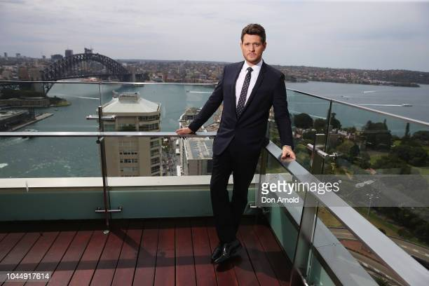 Michael Buble poses during a press conference on October 3 2018 in Sydney Australia