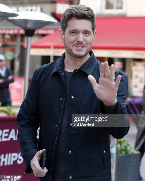 Michael BubleŽ seen arriving at Smooth Radio at Global Radio Studios on September 24 2018 in London England