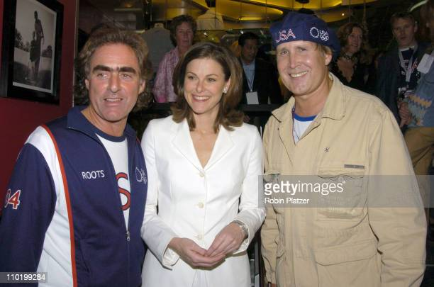 Michael Budman Campbell Brown and Chevy Chase during The Launch of the 2004 US Olympic Team Collection by Roots by Olympic Athletes at The NBC...