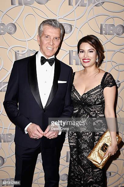 Michael Buffer and Christine Buffer attend HBO's Official Golden Globe Awards After Party Arrivals at Circa 55 Restaurant on January 8 2017 in Los...