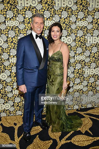 Michael Buffer and Christine Buffer attend HBO's post 2016 Golden Globe Awards party at Circa 55 Restaurant on January 10, 2016 in Los Angeles,...