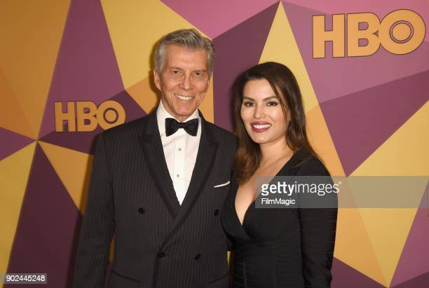 Michael Buffer and Christine Prado attend HBO's Official 2018 Golden Globe Awards After Party on January 7 2018 in Los Angeles California